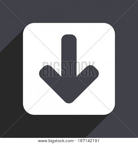 Download arrow flat design web icon isolated on gray background