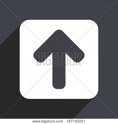 Up arrow flat design web icon isolated on gray background