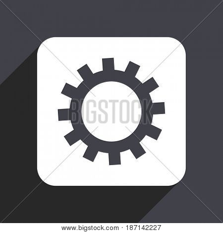 Gear flat design web icon isolated on gray background