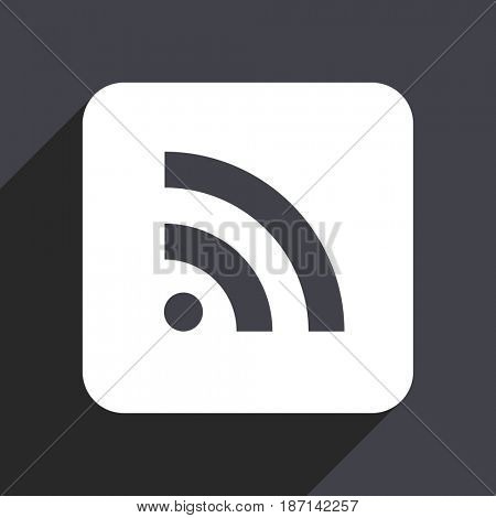 Rss flat design web icon isolated on gray background