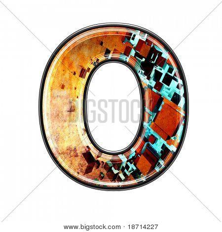 futurista 3d grungy letra - o