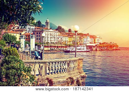 Picturesque Como lake and Bellagio town in summertime Italy.