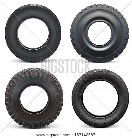 Vector Rubber Tires isolated on white background