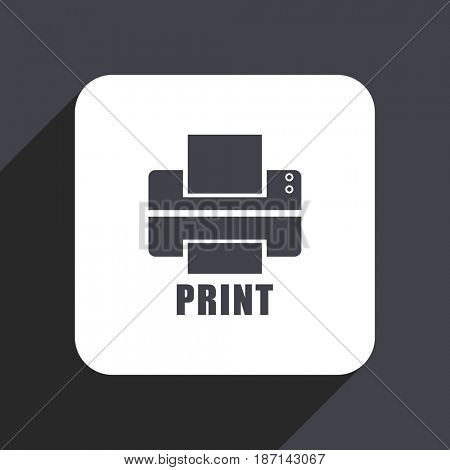 Printer flat design web icon isolated on gray background
