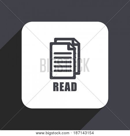 Read flat design web icon isolated on gray background