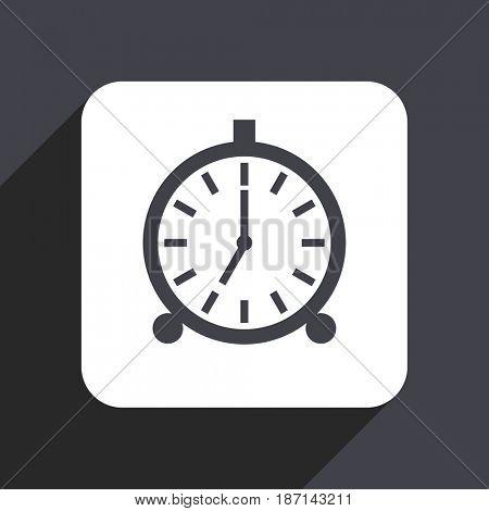 Alarm flat design web icon isolated on gray background
