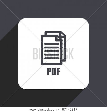 Pdf flat design web icon isolated on gray background,