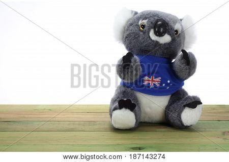 Soft Toy Koala on a Wooden Background