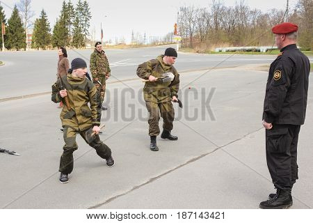 Kirishi, Russia - 9 May, Soldiers of special forces with the commander, 9 May, 2017. Holiday demonstration speeches of special forces soldiers in honor of Victory Day.