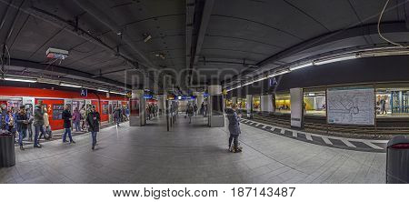 People Wait For Subway Train  In Frankfurt