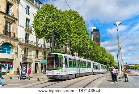 Nantes, France - April 14, 2017: Modern tram in the centre of Nantes