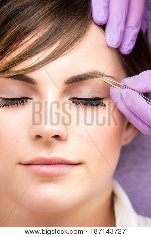 Young Woman Wearing False Eyelashes