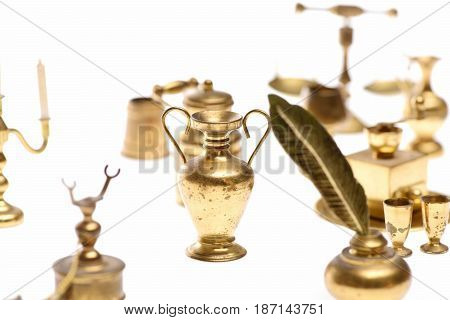 Amphora Or Golden Jug On Tray Isolated On White
