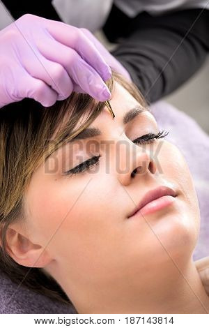 Attractive Young Woman Having Her Eyebrows Plucked