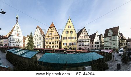 Panoramic View Of The Christmas Market At Medieval Town Of Rothenburg Ob Der Tauber