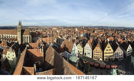 Panoramic View Of The Medieval Town Of Rothenburg Ob Der Tauber In Bavaria