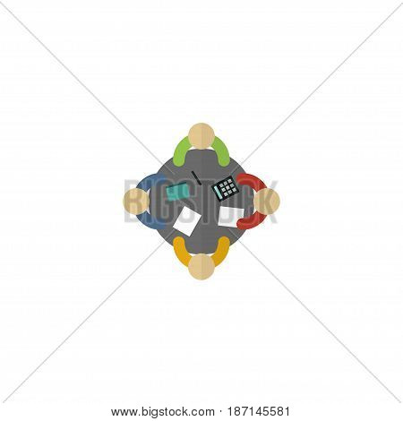Flat Meeting Element. Vector Illustration Of Flat Discussion  Isolated On Clean Background. Can Be Used As Consideration, Discussion And Meeting Symbols.