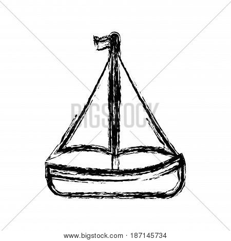sailboat icon over white background. vector illustration