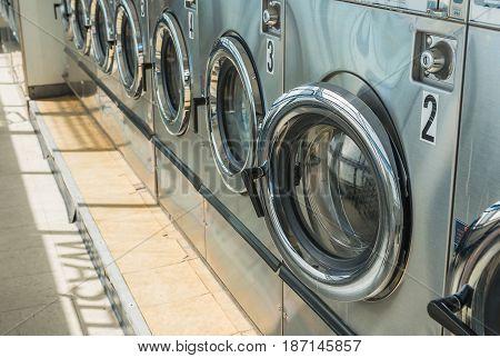 Laundry Machine In Public Laundromat Store