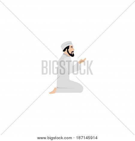 Flat Namaz Element. Vector Illustration Of Flat Praying Man Isolated On Clean Background. Can Be Used As Namaz, Praying And Man Symbols.