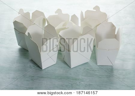 Empty White Food Boxes on Texture Background