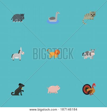 Flat Hound, King, Waterbird And Other Vector Elements. Set Of Mammal Flat Symbols Also Includes King, Hippo, Cock Objects.