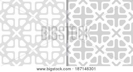 Geometric monochrome background. Gray seamless pattern set. Vector illustration