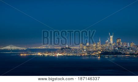 Cityscape of San Francisco during beautiful hour