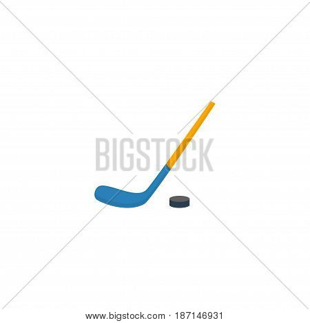 Flat Hockey Stick Element. Vector Illustration Of Flat Puck  Isolated On Clean Background. Can Be Used As Hockey, Stick And Puck Symbols.