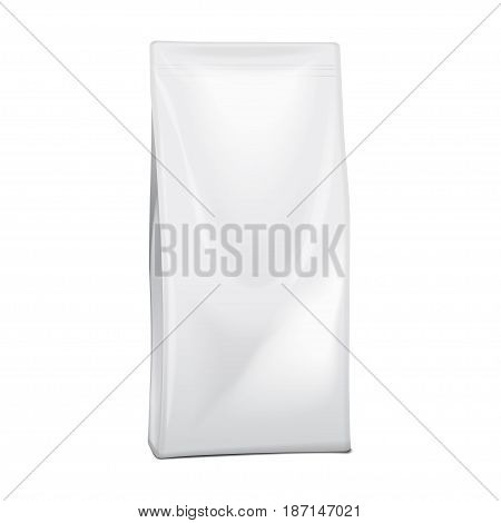 Blank Foil Or Paper Food or Household Chemicals Bag Packaging. sachet Snack Pouch Food For Animals. Vector mock up for your design