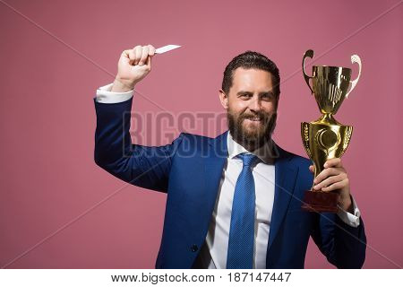 Happy Businessman, Man With Golden Champion Cup And Credit Card