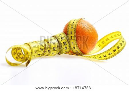 Orange Twined By Centimeter Isolated On White
