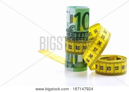 Euro Banknotes With Measure Tape