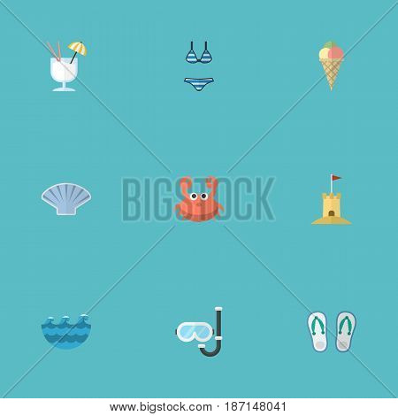 Flat Drink, Cancer, Sorbet And Other Vector Elements. Set Of Beach Flat Symbols Also Includes Flop, Sand, Cancer Objects.