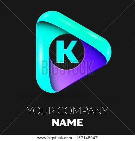 Letter K vector logo symbol in the colorful triangle on black background. Vector template for your design