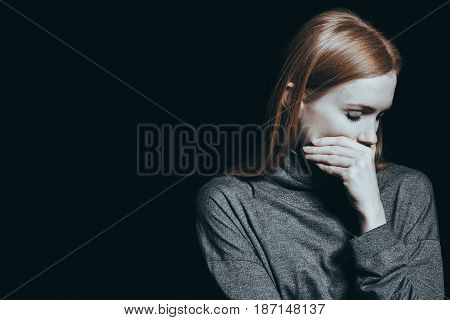 Bulimic Woman Covering Her Mouth