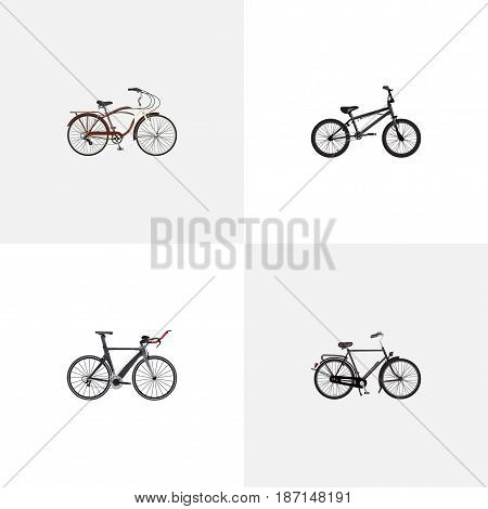 Realistic Extreme Biking, Journey Bike, Training Vehicle And Other Vector Elements. Set Of Bike Realistic Symbols Also Includes Velocipede, Extreme, Triathlon Objects.