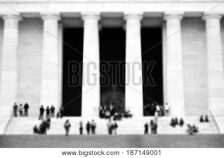 Lincoln Memorial in Washington DC with people crowds