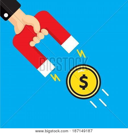 Hand holding a magnet. Concept of attracting money