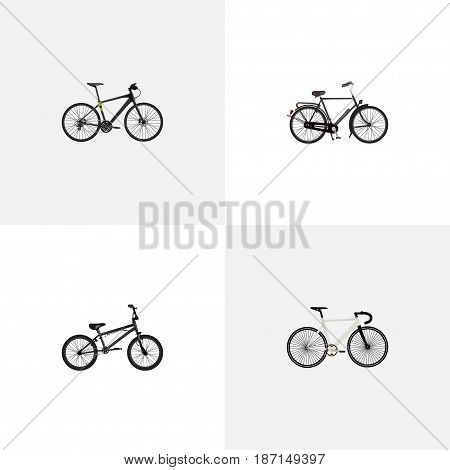 Realistic Road Velocity, Hybrid Velocipede, Training Vehicle And Other Vector Elements. Set Of Bike Realistic Symbols Also Includes Velocipede, Bmx, Track Objects.
