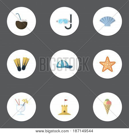 Flat Hat, Cocos, Sea Star And Other Vector Elements. Set Of Sunlight Flat Symbols Also Includes Cocktail, Castle, Starfish Objects.