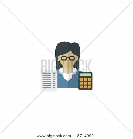 Flat Accountant Element. Vector Illustration Of Flat Bookkeeper Isolated On Clean Background. Can Be Used As Bookkeeper, Accountant And Booker Symbols.