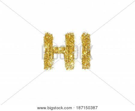 Word Hi of golden glitter on white background.