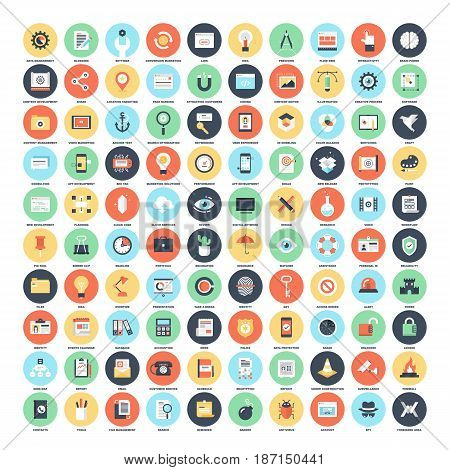 Vector set of 150 flat web icons on following themes - SEO and development, creative process, , office and business, security and protection