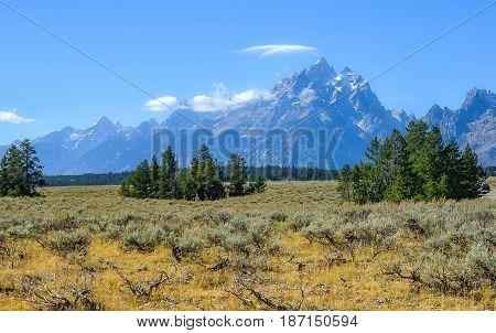 View Of Teton Range In Grand Teton National Park