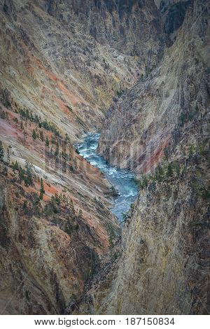 Beautiful aerial view of colorful Yellowstone river