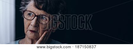 Elderly Lonely Woman With Alzheimer's