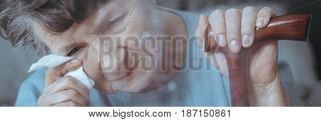 Older Woman With Dementia Crying
