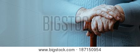 Hands Of Senior Disabled Woman