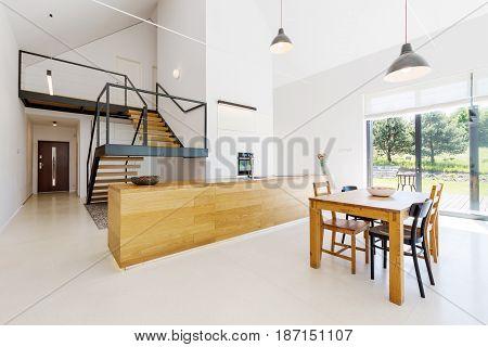 Mezzanine Floor In Minimalist Apartment